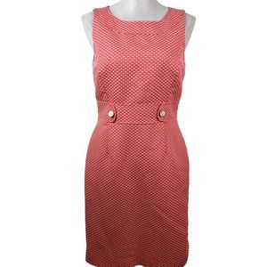 Tahari Sheath Dress Womens Sz 6 Coral White